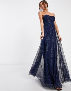 Read more about Goddiva bandeau embellished mesh maxi dress in navy