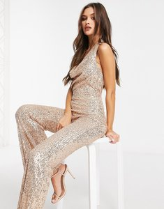 Read more about Goddiva cowl neck embellished jumpsuit in champagne-gold