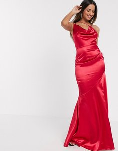 Read more about Goddiva cowl neck strappy back maxi dress in pink satin