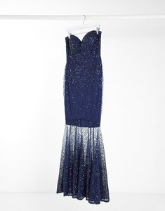 Read more about Goddiva embellished maxi dress with sheer sequin overlay in navy