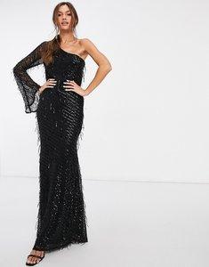 Read more about Goddiva one shoulder fringe sequin embellished maxi dress in black
