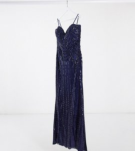 Read more about Goddiva plus bandeau sequin embellished maxi dress in with thigh split navy