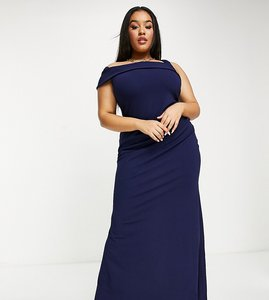 Read more about Goddiva plus one shoulder fishtail maxi dress in navy