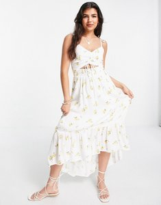 Read more about Hollister midi dress in white floral print