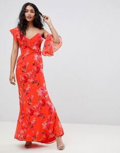Read more about Hope ivy asymmetric ruffle shoulder detail maxi dress in floral print-multi