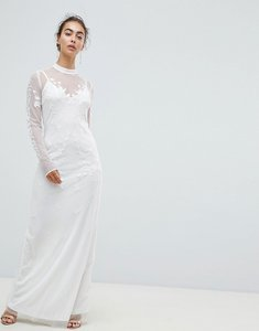 Read more about Hope ivy dotty mesh maxi bridal dress with embroidery and high neck detail-white