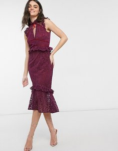 Read more about Hope ivy high neck lace midi dress in berry-red