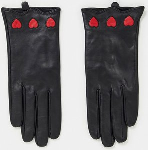Read more about House of holland leather gloves with hearts in black-multi