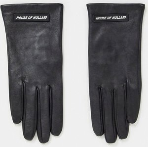 Read more about House of holland leather gloves with logo in black
