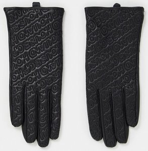 Read more about House of holland leather gloves with stitched logo in black
