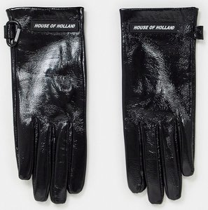 Read more about House of holland leather high shine gloves in black