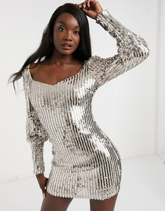 Read more about I saw it first metallic sequin puff sleeve mini dress in silver