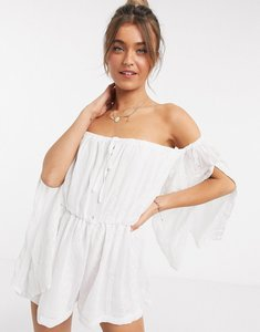 Read more about In the style floaty off shoulder playsuit in white