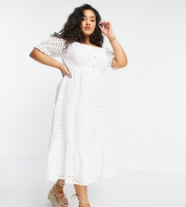 Read more about In the style plus x jac jossa broderie off shoulder puff sleeve tiered maxi dress in white