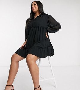 Read more about In the style plus x jac jossa button through swing shirt dress in black