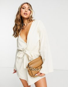 Read more about In the style v neck tie dress in cream-white