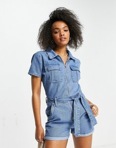 Read more about In the style x olivia bowen denim collar detail playsuit with belt detail in light blue wash