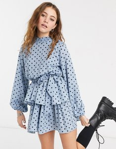 Read more about In the style x olivia bowen high neck skater dress with belt in blue polka print-multi