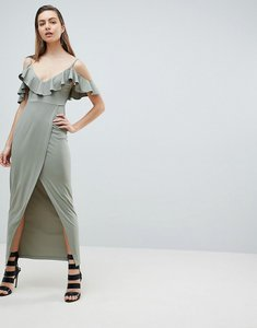 Read more about Ivyrevel cold shoulder maxi dress with wrap front-green