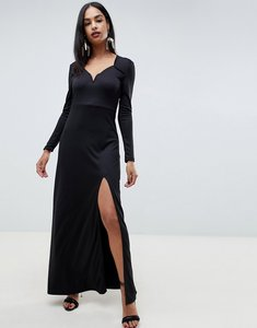 Read more about Ivyrevel sweetheart maxi dress with slit front-black