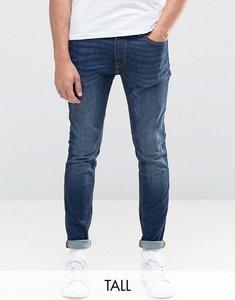 Read more about Jack jones intelligence skinny jeans in mid blue wash-black