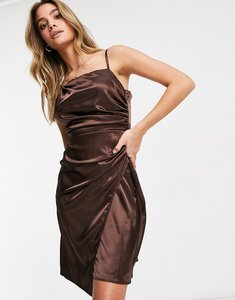 Read more about Jaded rose asymmetric satin wrap midaxi dress in chocolate brown