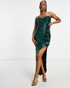 Read more about Jaded rose bandeau thigh split wrap dress in emerald green