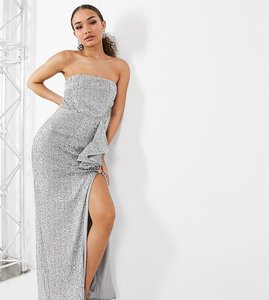 Read more about Jaded rose exclusive bandeau sequin maxi dress in iridescent silver