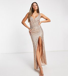 Read more about Jaded rose exclusive sequin maxi dress with cowl back in gold