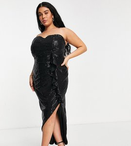 Read more about Jaded rose plus embellished bandeau thigh split midaxi dress in black