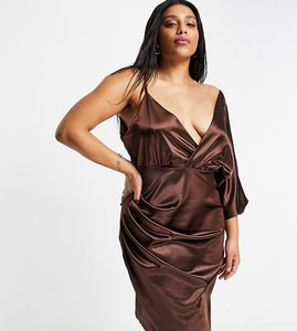 Read more about Jaded rose plus wrap midaxi satin dress in chocolate brown
