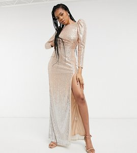 Read more about Jaded rose tall exclusive sequin maxi dress with open back in gold and silver