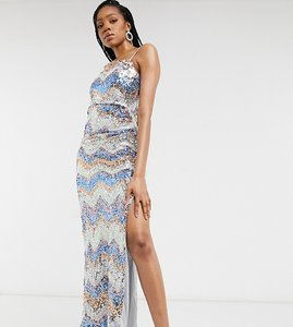 Read more about Jaded rose tall exclusive sequin maxi dress with thigh split in chevron sequin-multi