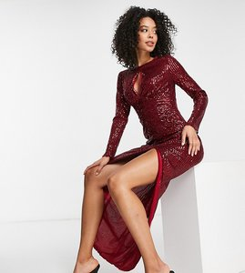 Read more about Jaded rose tall keyhole long sleeve embellished midi dress in burgundy-red