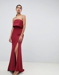 Read more about Jarlo bandeau overlay maxi dress with thigh split in berry-red
