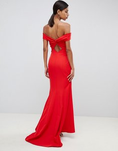Read more about Jarlo cross front and back bardot maxi dress in red