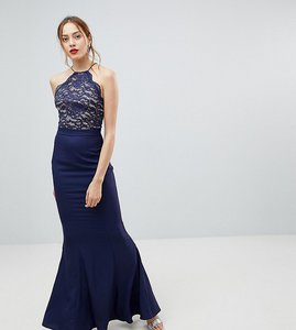 Read more about Jarlo tall high neck lace dress with tie back detail-navy