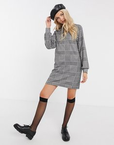 Read more about Jdy long sleeve shift dress in check print-white