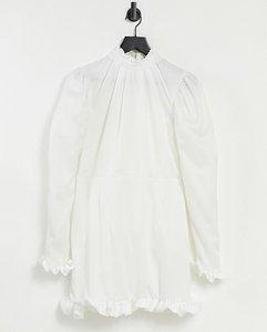 Read more about John zack frill neck and cuff detail mini shift dress in ecru-white