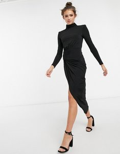 Read more about John zack high neck long sleeve wrap detail maxi dress in black