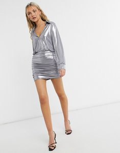 Read more about John zack metallic collar detail ruched mini dress in silver