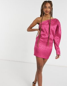 Read more about John zack one shoulder puff sleeve mini shift dress in pink leopard-multi
