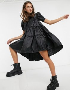 Read more about John zack pleated smock dress in black