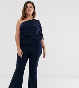 Read more about John zack plus one shoulder ruched jumpsuit in navy-blue