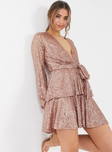 Read more about John zack sequin plunge front skater dress in rose gold