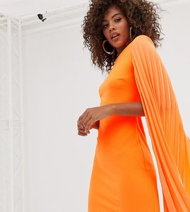 Read more about John zack tall bodycon mini dress with pleated bell sleeve in orange