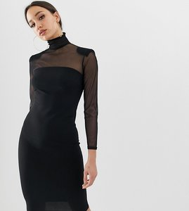 Read more about John zack tall mesh sleeve bodycon dress in black