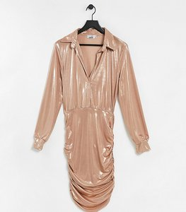 Read more about John zack tall metallic collar detail ruched mini dress in rose gold