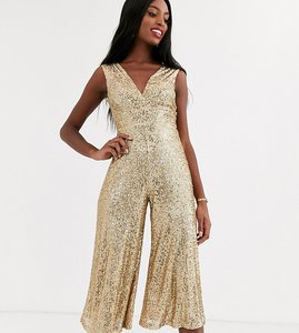 Read more about John zack tall sequin wide leg jumpsuit in gold