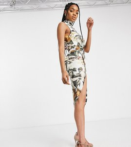 Read more about John zack tall sleeveless high neck wrap detail midi dress in multi angelic print
